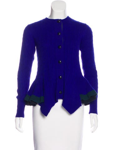 Sacai Luck Cable Knit Peplum Cardigan w/ Tags None