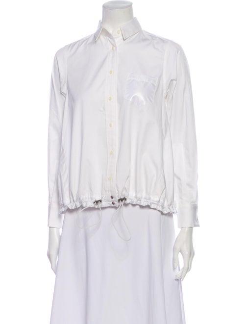 Sacai Luck Long Sleeve Button-Up Top White