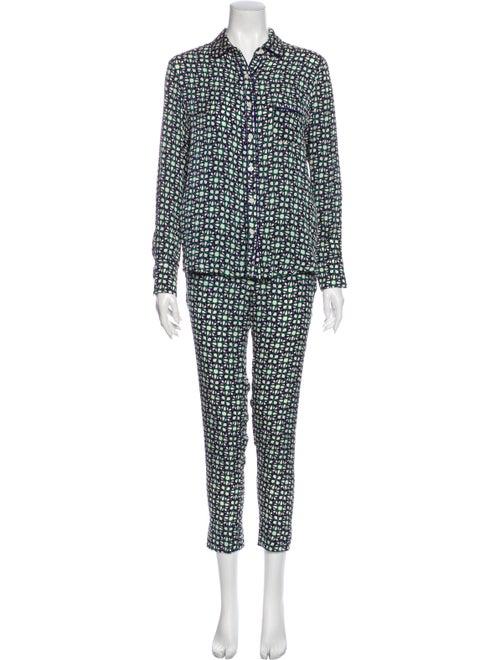 Piamita Silk Printed Pajamas Green