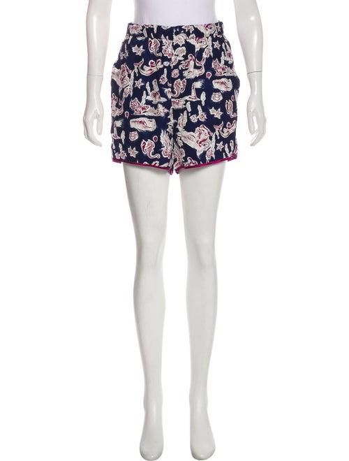 Piamita Silk Print Shorts Navy