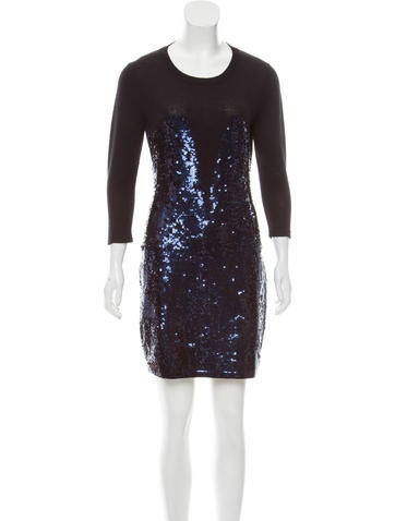 Markus Lupfer Sequined Wool Dress None