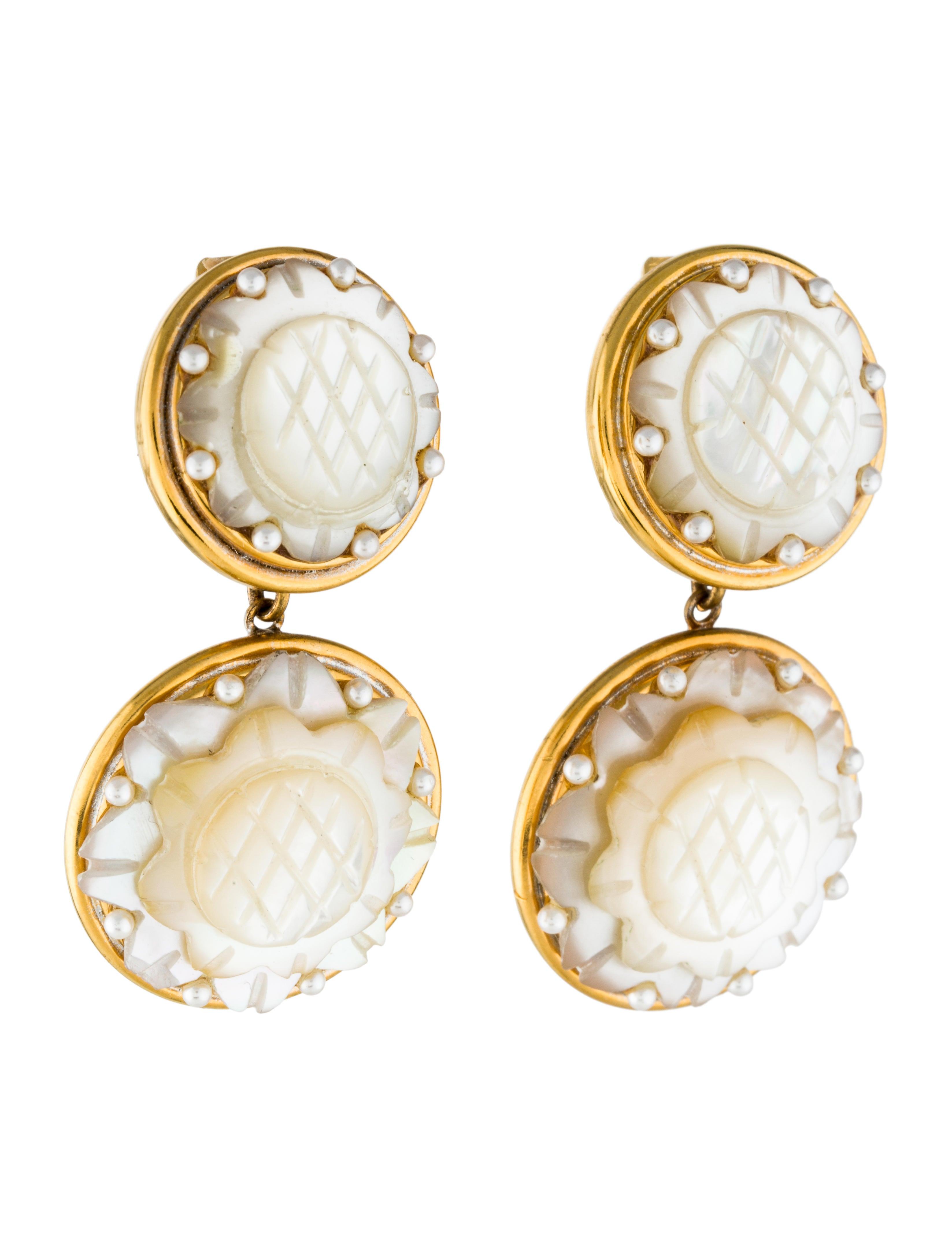 jose maria barrera carved mother of pearl clip on. Black Bedroom Furniture Sets. Home Design Ideas