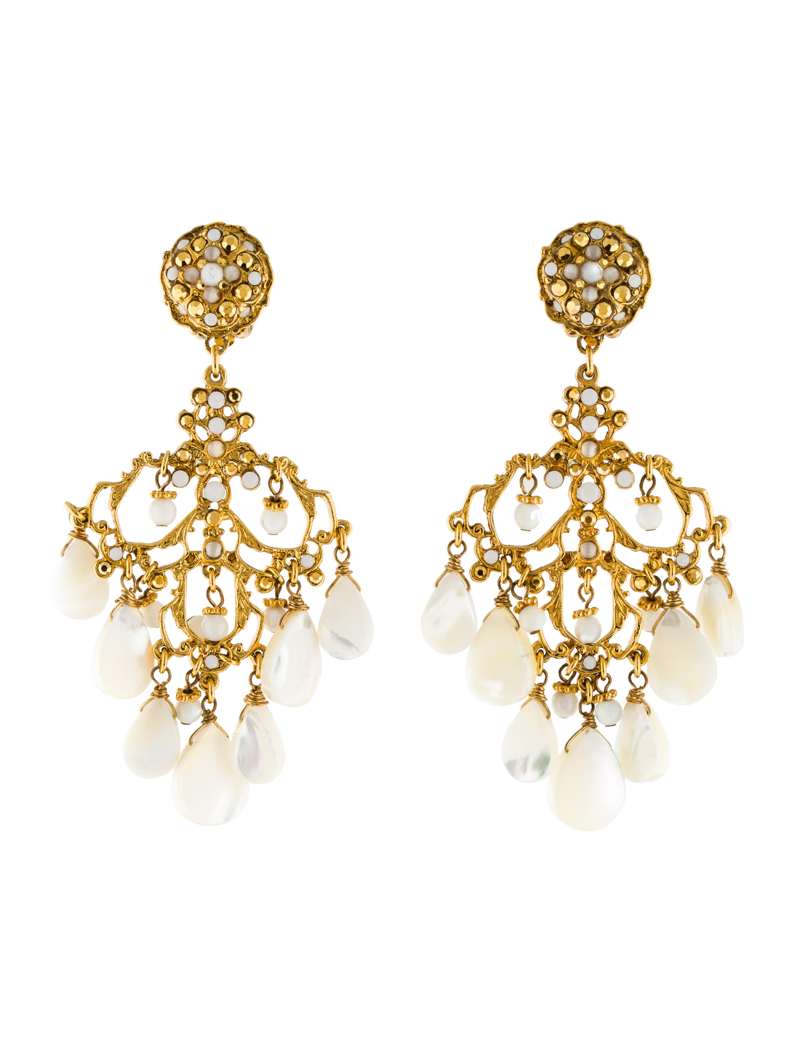 Jose & Maria Barrera Pearly Crystal Chandelier Clip-On Earrings pGnXxfUCzG