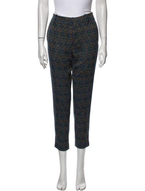 Tia Cibani Tweed Pattern Skinny Leg Pants Blue