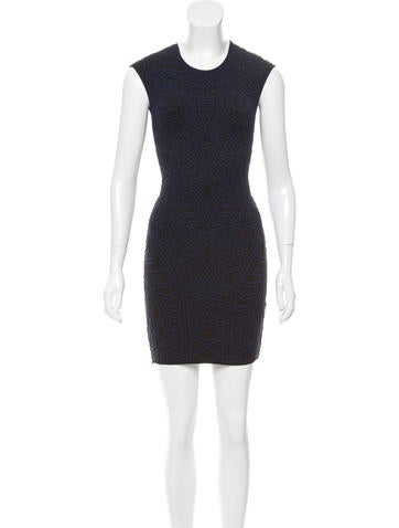 RVN Embroidered Bodycon Dress None