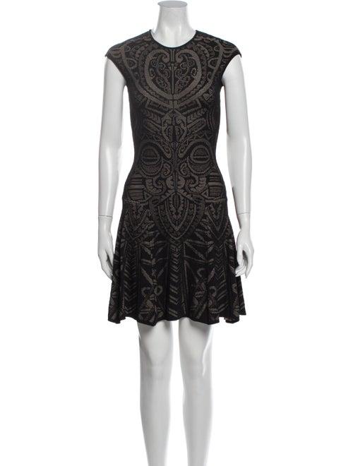 RVN Lace Pattern Mini Dress Black