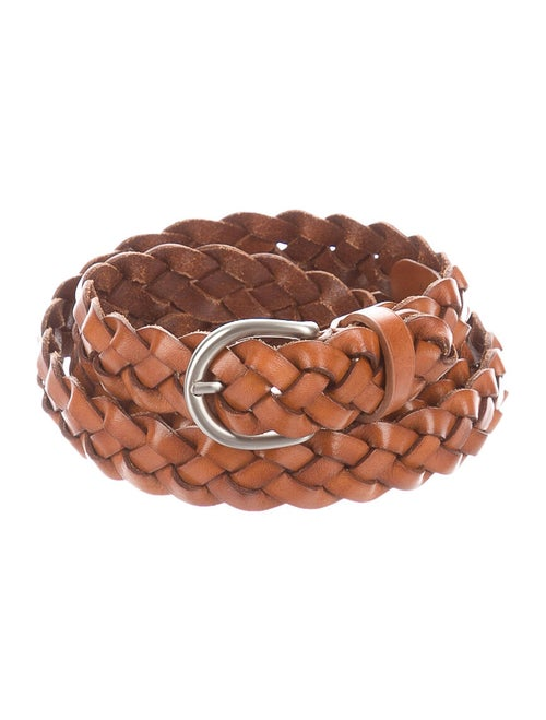 Bassike Leather Braided Belt Brown