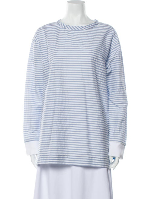Bassike Striped Scoop Neck Blouse Blue