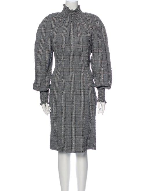 Bassike Plaid Print Knee-Length Dress Grey