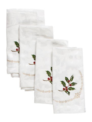 Waterford Set of 4 Holiday Dinner Napkins None