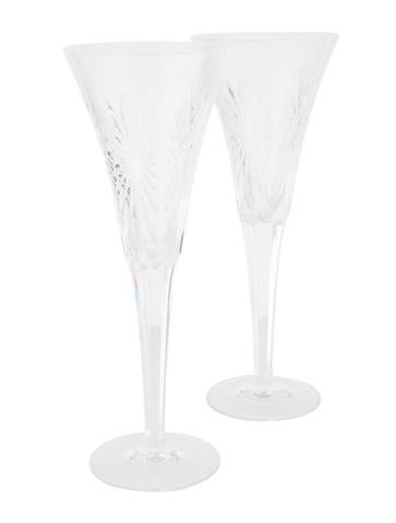 Waterford Pair of Millennium Health Toasting Flutes None