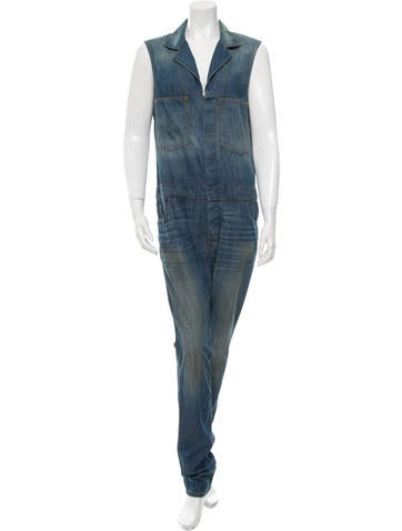 6397 Denim Notch-Lapel Jumpsuit w/ Tags