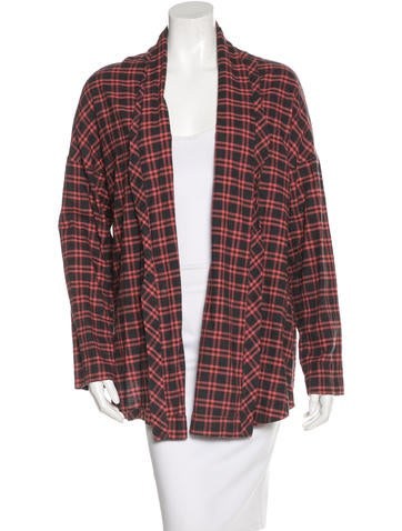 6397 Plaid Open Jacket None