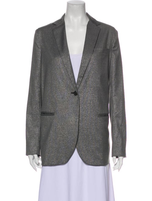 6397 Plaid Print Blazer Grey