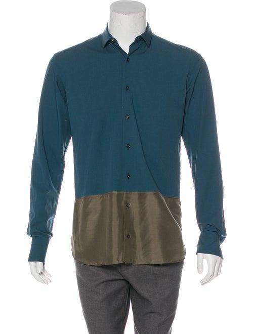 Kolor Colorblock Button-Up Shirt teal