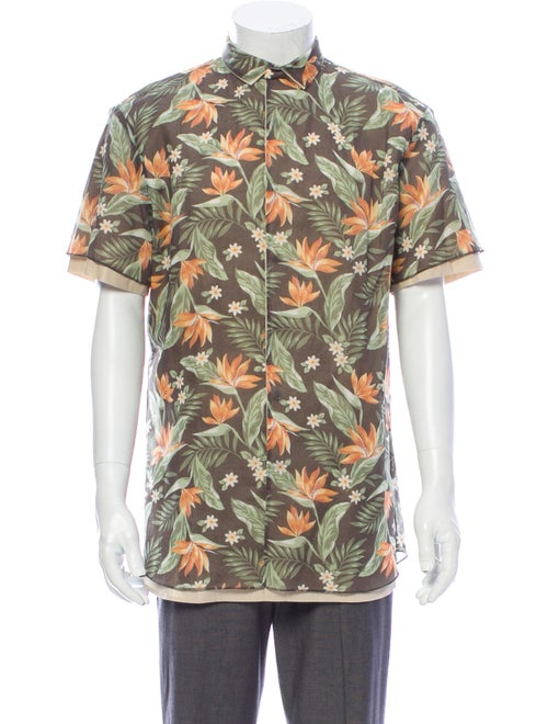 Kolor Floral Print Short Sleeve Shirt Green
