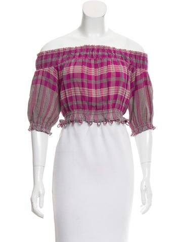 Apiece Apart Plaid Crop Top None