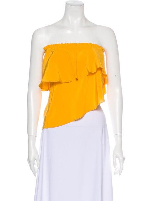 Apiece Apart Silk Strapless Crop Top Orange