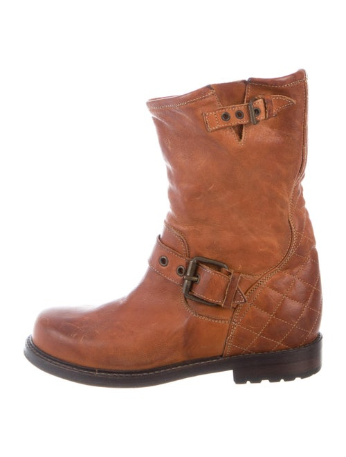 Buttero Leather Moto Boots Brown