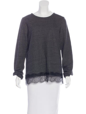 Clu Lace-Trimmed Long Sleeve Sweatshirt None