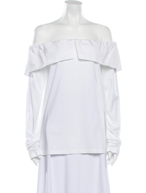 Clu Off-The-Shoulder Long Sleeve Top w/ Tags White