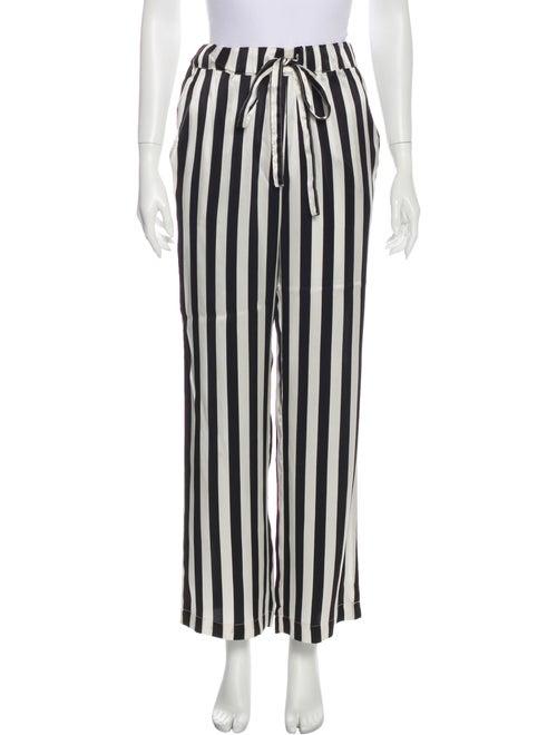 Anine Bing Silk Striped Pajamas Black