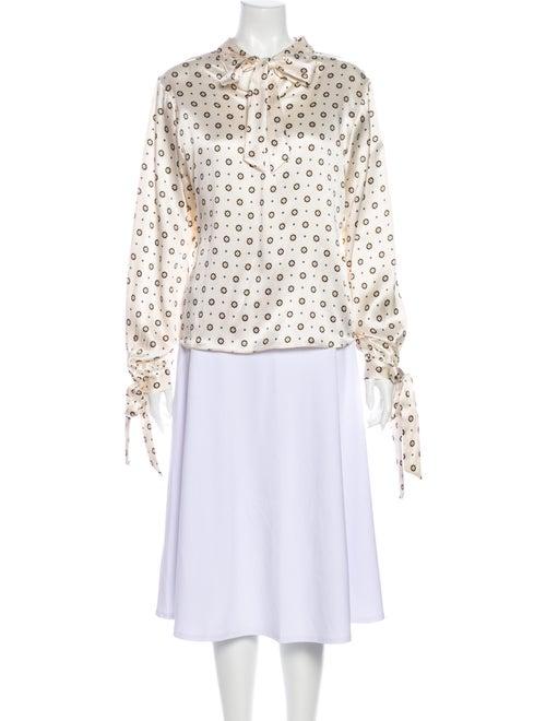 Anine Bing Silk Floral Print Blouse White
