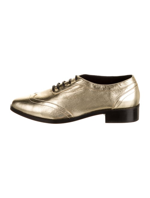 Anine Bing Leather Oxfords Gold