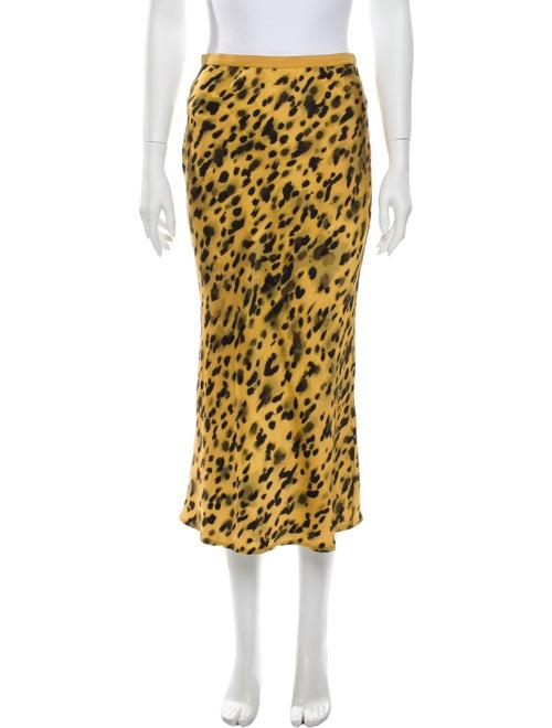 Anine Bing Silk Midi Length Skirt Yellow