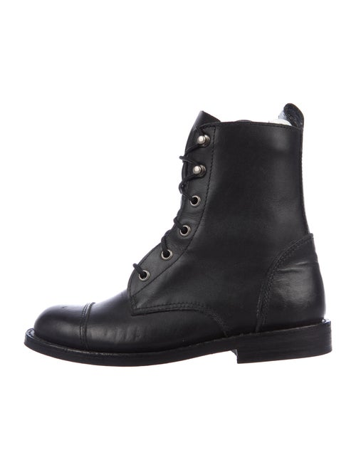 Anine Bing Leather Combat Boots Black