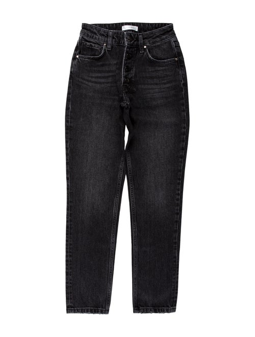 Anine Bing Mid-Rise Straight Leg Jeans Black