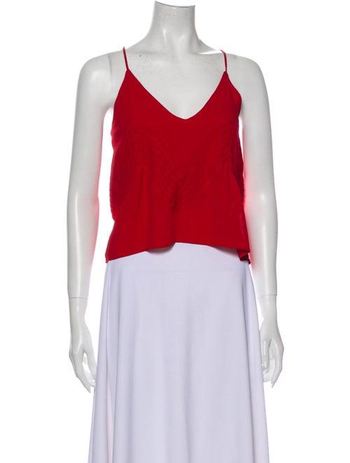 Anine Bing V-Neck Sleeveless Crop Top Red