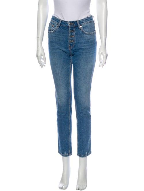 Anine Bing Mid-Rise Straight Leg Jeans Blue