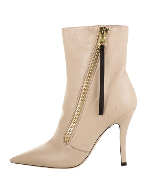 Schutz Leather Ankle Boots Beige