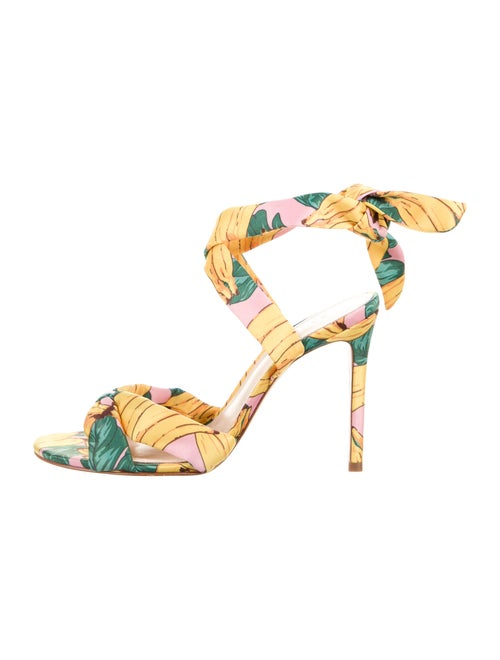 Schutz Floral Print Sandals Yellow