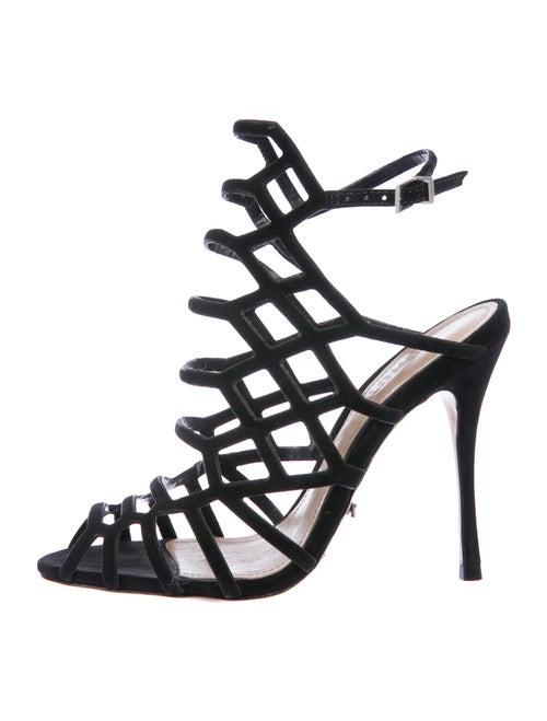 Schutz Suede Gladiator Sandals Black