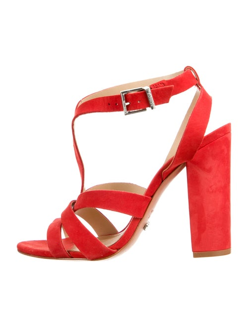 Schutz Suede T-Strap Sandals Red