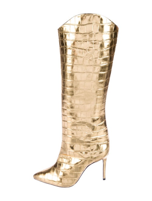 Schutz Leather Boots Gold