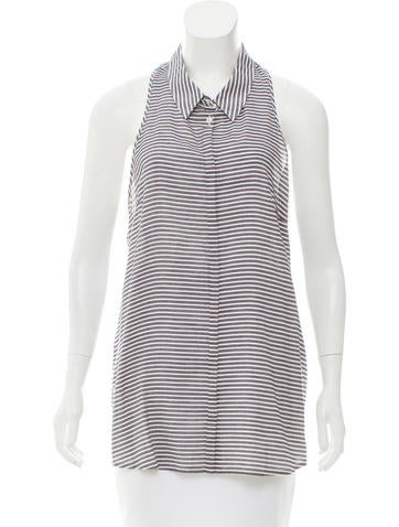 Priory of Ten Sleeveless Striped Button-Up w/ Tags None