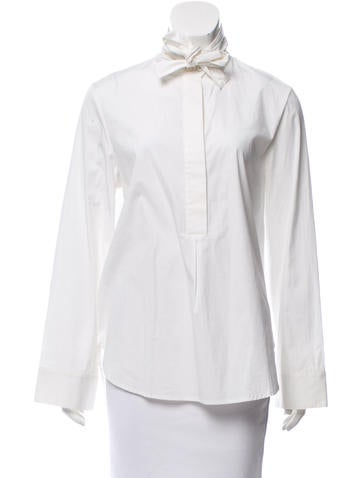 Priory of Ten Tie-Accented Long Sleeve Blouse w/ Tags None
