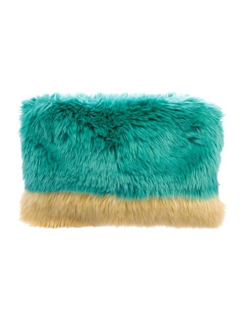 Shrimps Faux Fur Clutch Turquoise