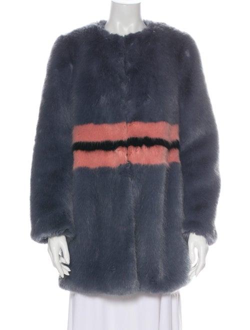 Shrimps Striped Faux Fur Coat Grey - image 1