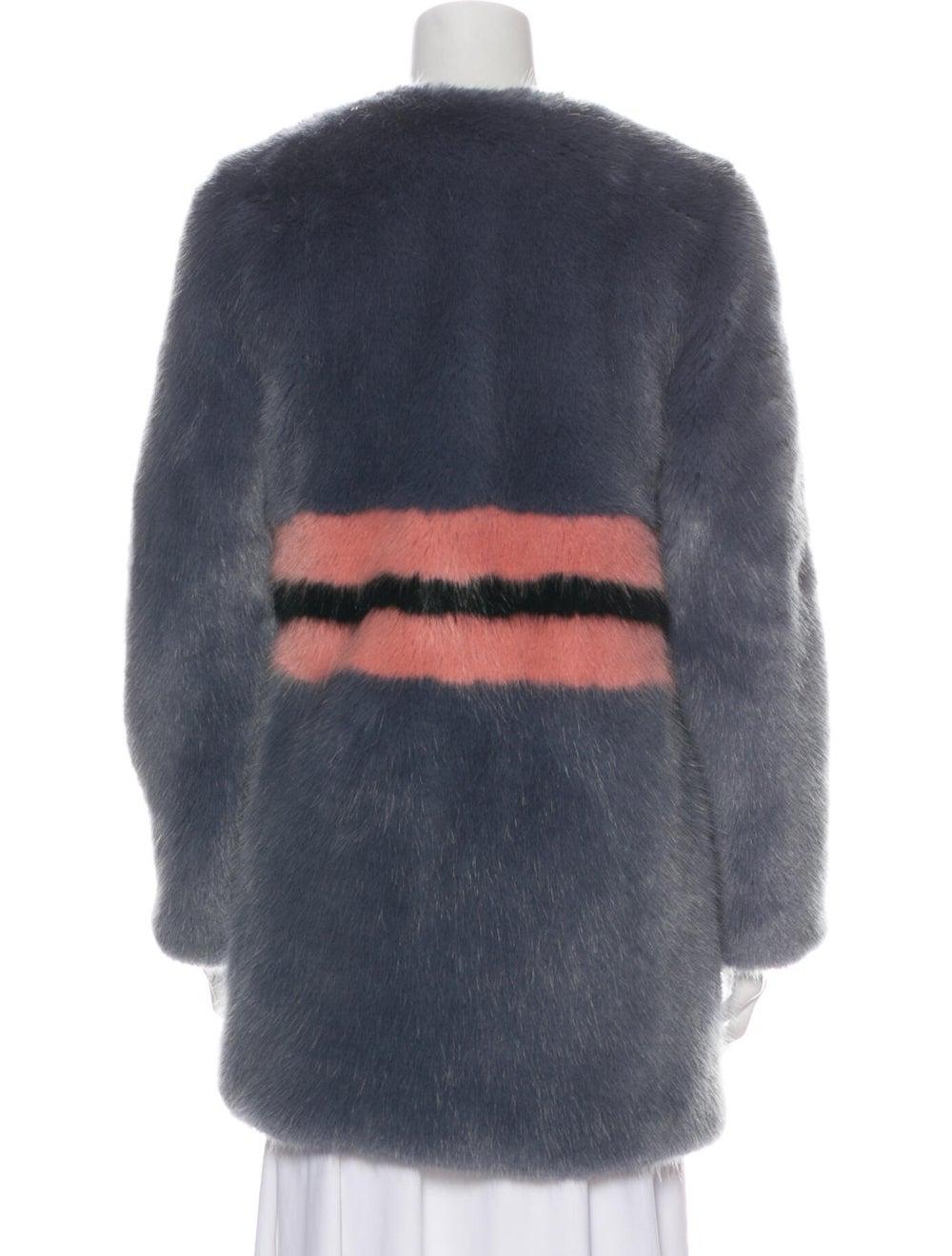 Shrimps Striped Faux Fur Coat Grey - image 3