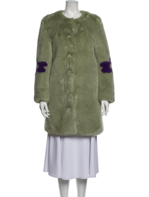 Shrimps Patterned Faux Fur Coat Green - image 1
