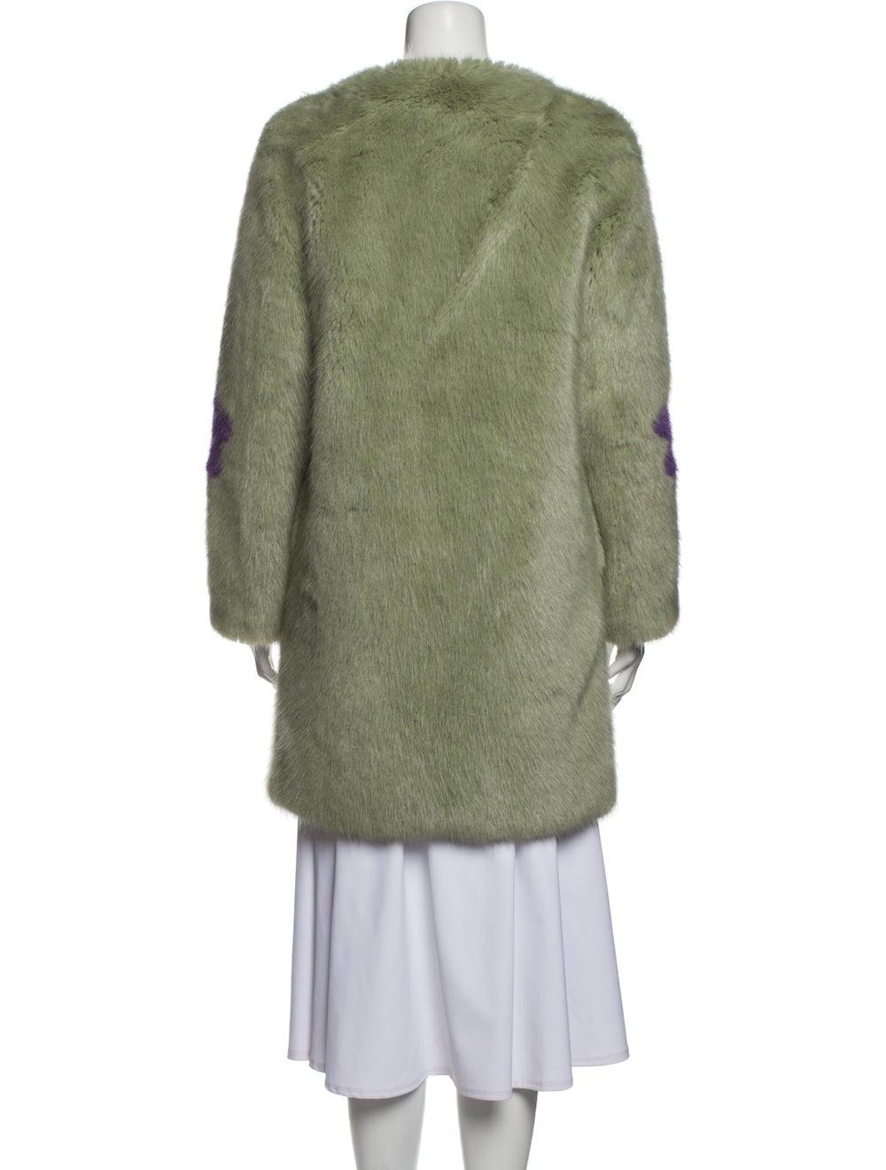 Shrimps Patterned Faux Fur Coat Green - image 3