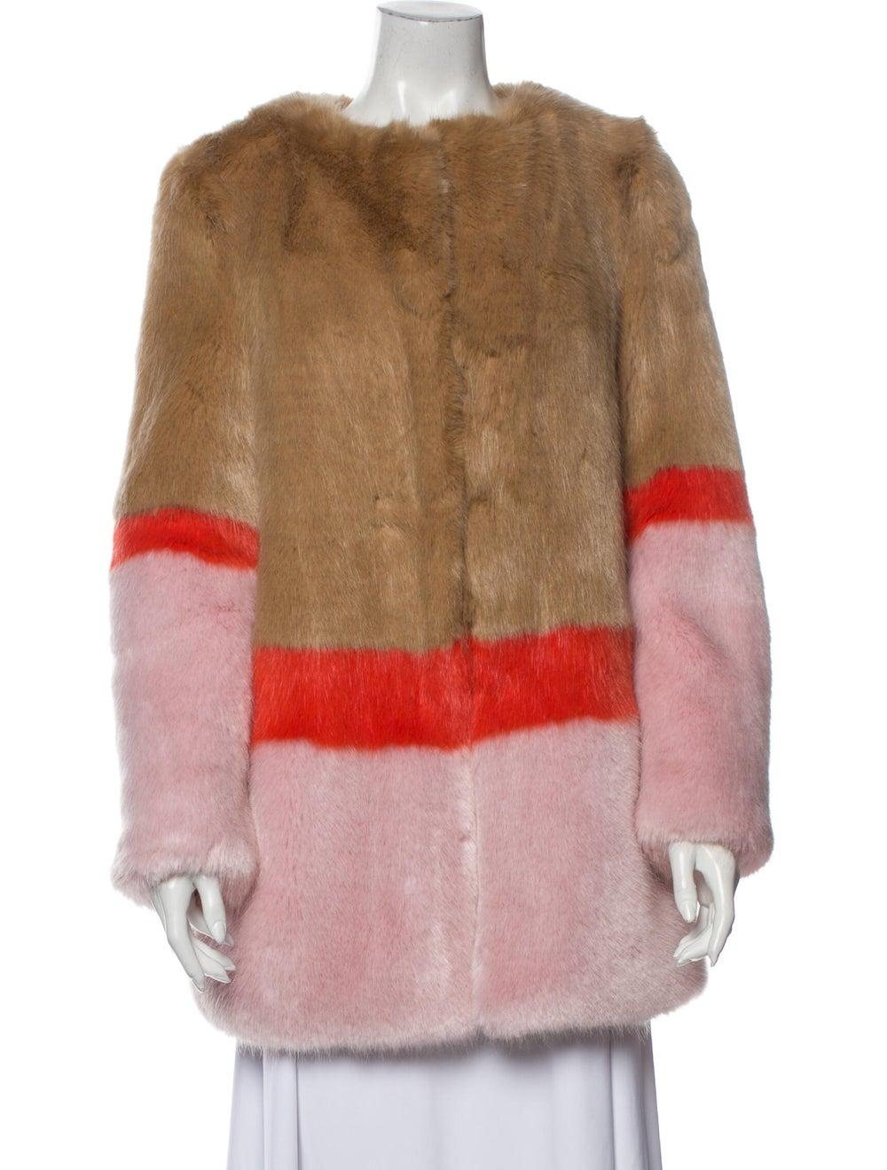 Shrimps Colorblock Pattern Faux Fur Jacket Brown - image 1