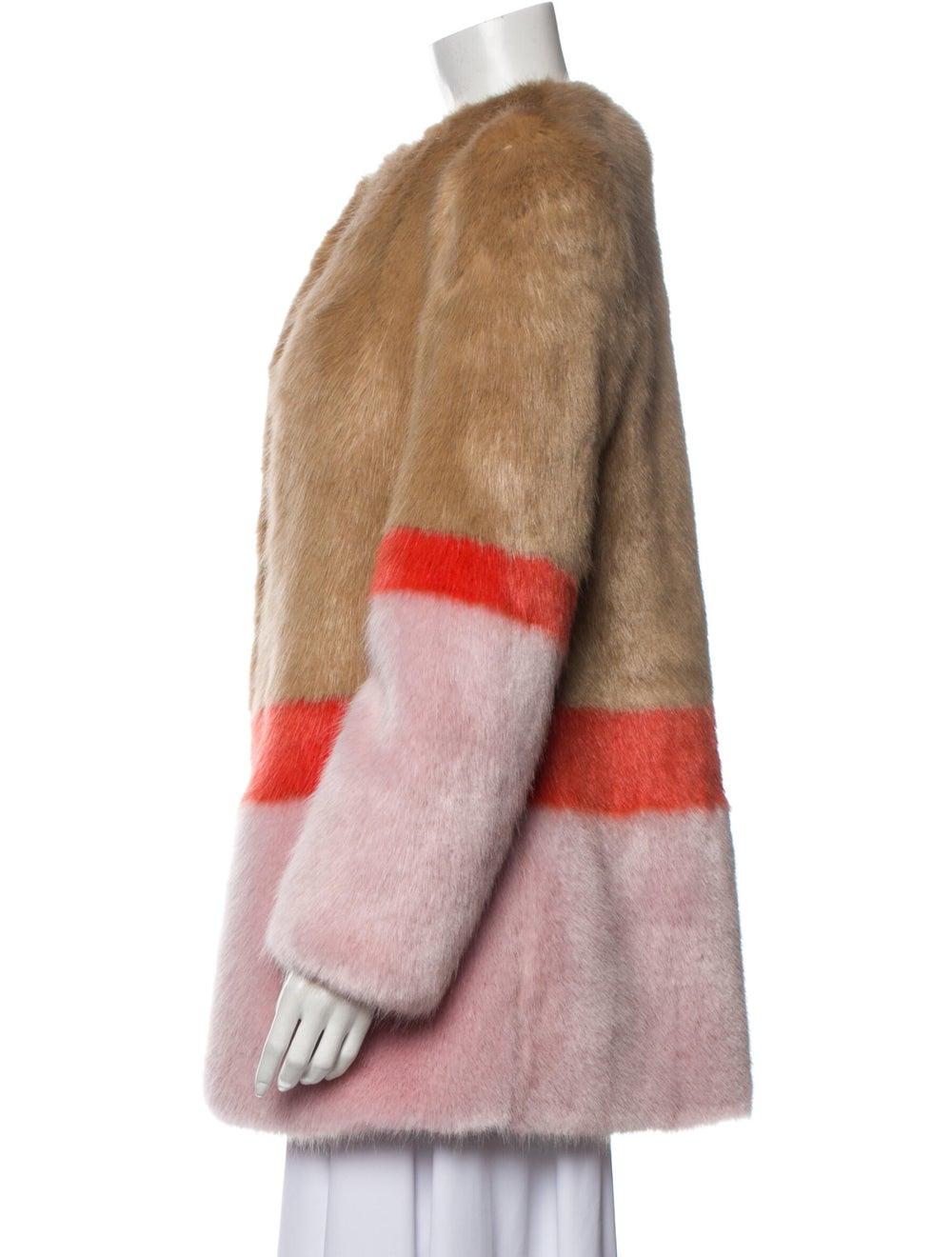 Shrimps Colorblock Pattern Faux Fur Jacket Brown - image 2