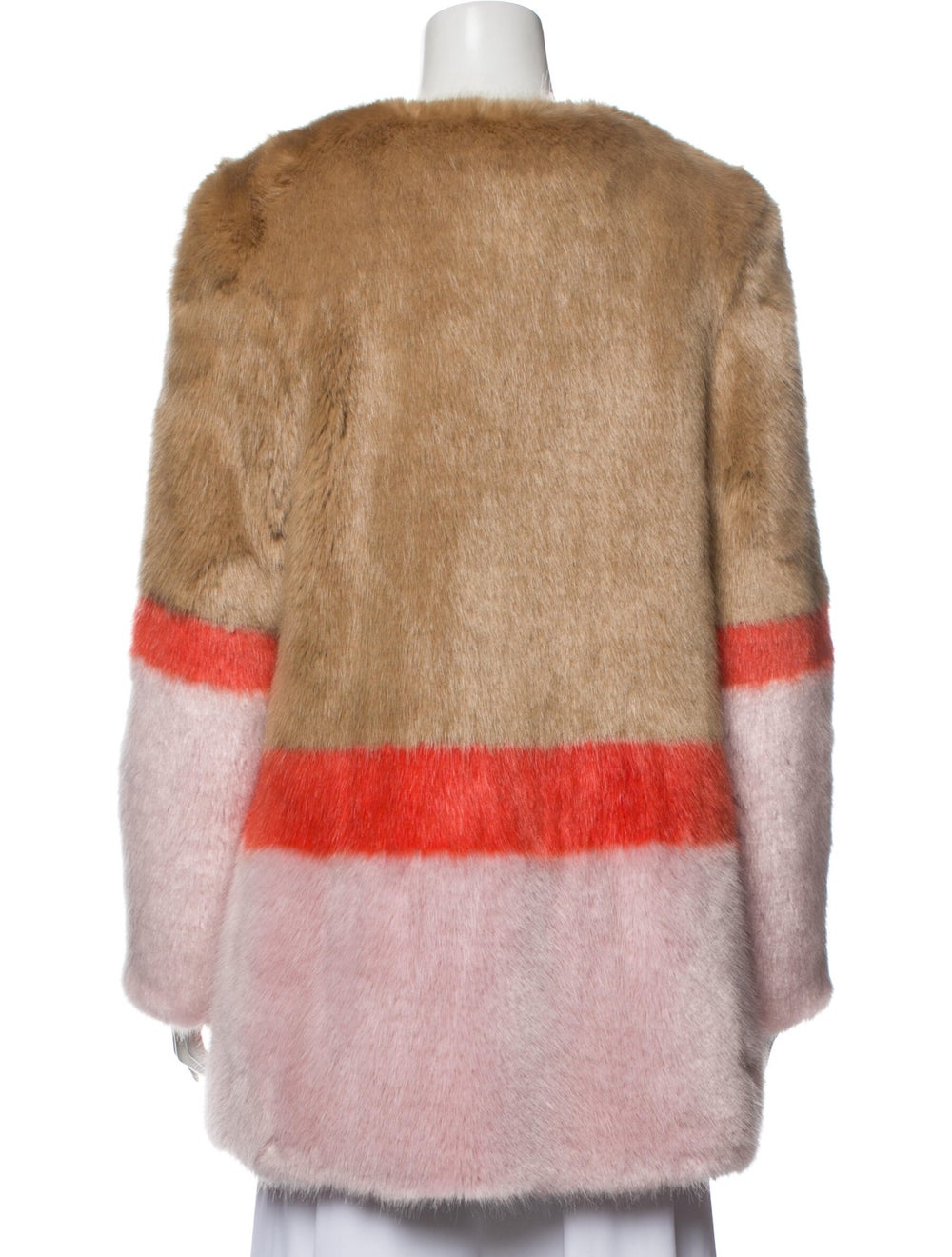 Shrimps Colorblock Pattern Faux Fur Jacket Brown - image 3
