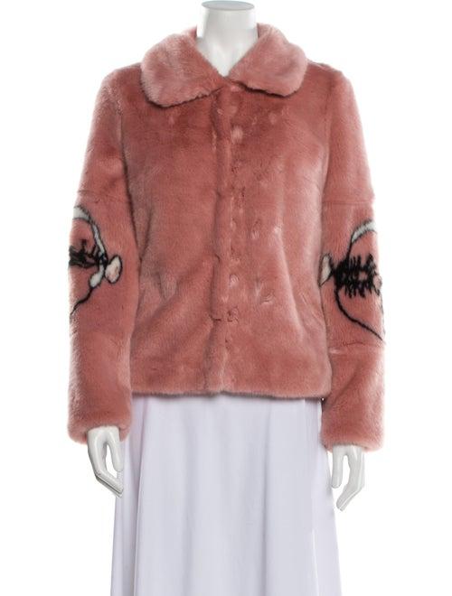 Shrimps Patterned Faux Fur Jacket Pink