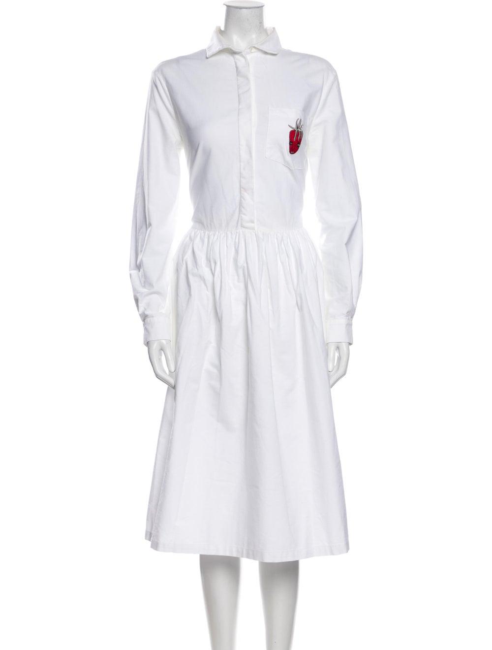Shrimps Mock Neck Midi Length Dress White - image 1